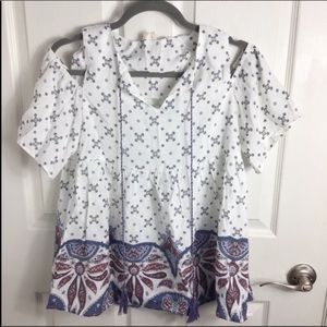 Hyku Boho White Print Tunic Top